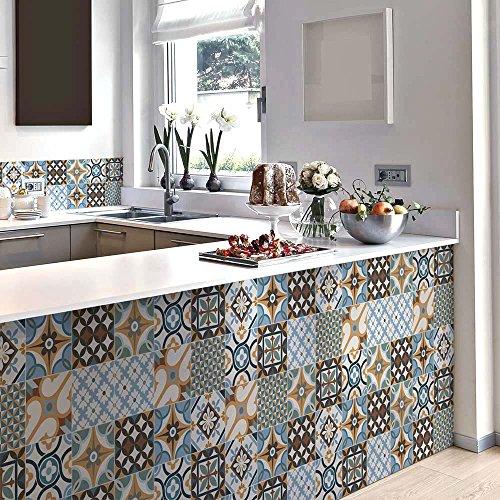 15 piezas Azulejo adhesivo 20x20 cm PS00140 Mosaico de Azulejos Adhesivo de pared Adhesivo decorativo para azulejos de cemento para baño y cocina Adhesivos de cemento pelar y pegar