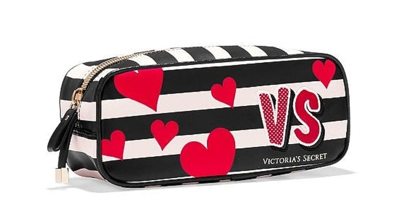 ユーモラス模索教える(ヴィクトリアシークレット)VICTORIA'S SECRET ポーチ コスメポーチ 小さめ ボーダー×ハート Small Cosmetic Bag [並行輸入品]