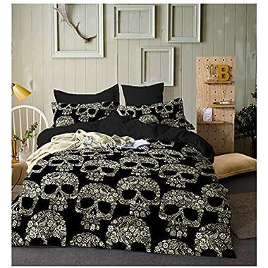 YSJ Dense Flowers Skull Bedding Set-3 PCS White Black Skull Duvet Cover Set with Zipper Closure-King Size Gothic Bed Set for Men Women (King)