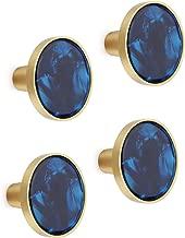 4PCS Brass Decorative Cabinet Knobs Kitchen Hardware Cupboard Drawer Dresser Pulls Wall Mounted Coat Hooks 1.25 inch Diameter Royal Blue