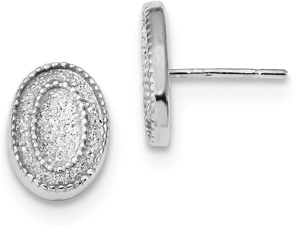 925 Sterling Silver Enamel Glitter Stud Oval Columbus Mall Great interest Earring Fabric Post
