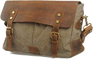 Leather Bag Mens Vintage Style Turquoise Color Canvas Shoulder Strap Sports Bag with Leather Straps High Capacity (Color : Brown, Size : S)