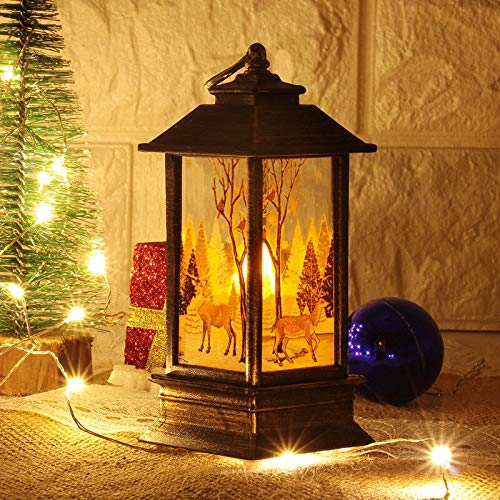 Christmas Candle with LED Tea Light Candles Cages Elk Santa Claus Printing Candlestick Christmas Decoration for Home A