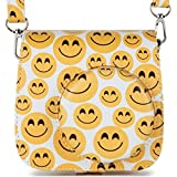 Woodmin Groovy Emoji PU Leather Camera Case Compatible Fuji Instax Mini 9 8 8+ Case Bag with Shoulder Strap (Smiling Face)
