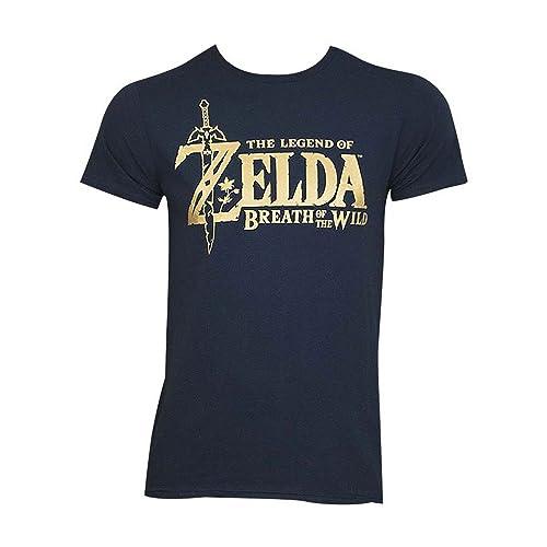 e0bccefd7649 Bioworld Zelda Breath of The Wild Metallic Logo Navy T-Shirt