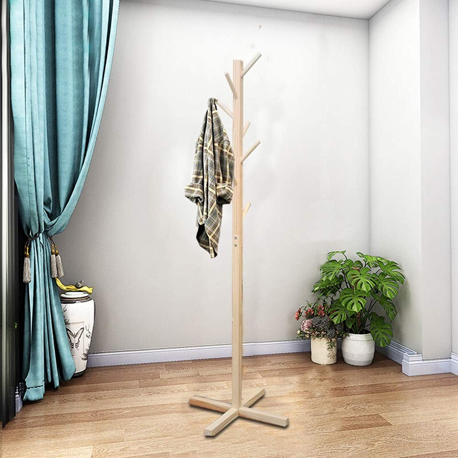 Qi_Hallway Furniture Nordic Solid Wood Coat Rack Bedroom Living Room Hanger Simple Modern Clothes Rack greenical Living Room Single Pole Hat Coat Rack Standing Coat Racks