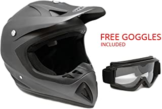 Adult Motorcycle Off-Road Helmet DOT - MX ATV Dirt Bike Motocross UTV - Flat Matte Gray Large with Riding Goggles