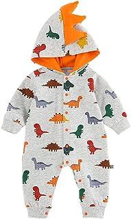 Xifamniy Newborn Unisex Babies Autumn Romper Cartoon Dinosaur Print Hooded Baby Jumpsuit