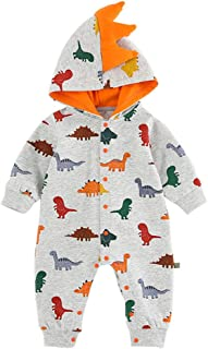 Xifamniy Newborn Unisex Babies Autumn Romper Cartoon Dinosaur Print Hooded Baby Jumpsuit
