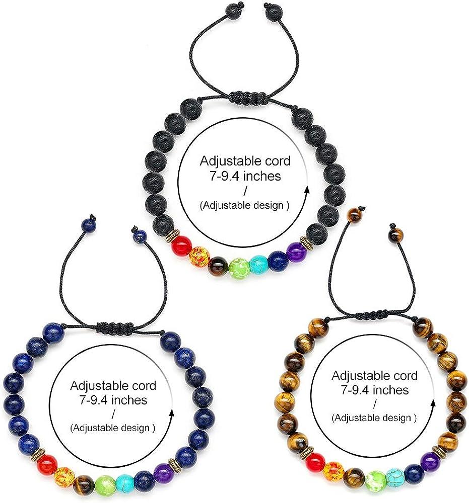 8mm Lava Rock Chakra Bead Bracelet for Women Chakra Bracelets for Women Men 7 Chakras Healing Yoga Anxiety Bracelet Mens Bracelet Beads Aromatherapy Essential Oil Diffuser Bracelets Gifts for Women