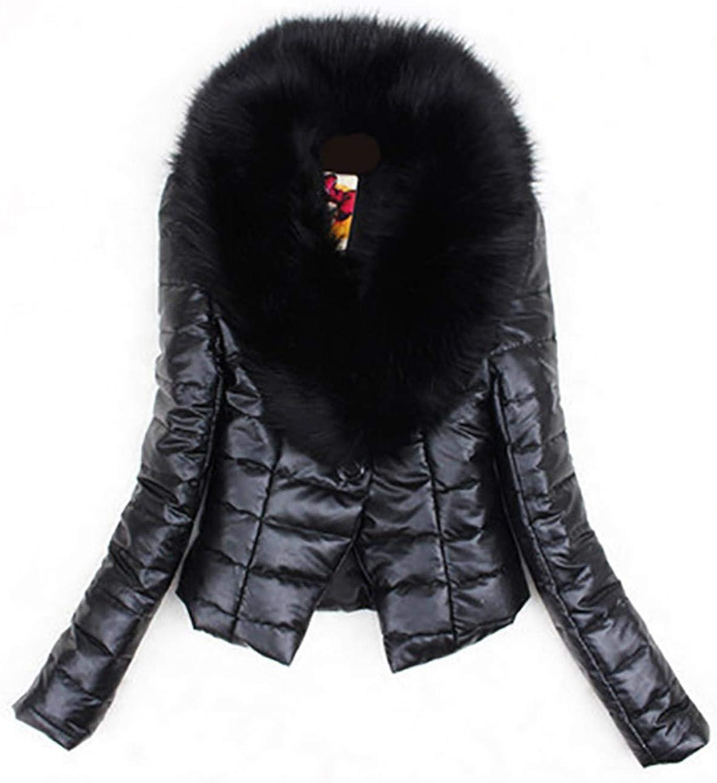 Dapigu Faux Fur Coat Womens Warm Slim Overcoat Faux Fox Fur Jacket Long Sleeve