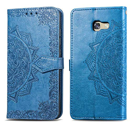 Bear Village Hülle für Galaxy A5 2017, PU Lederhülle Handyhülle für Samsung Galaxy A5 2017, Brieftasche Kratzfestes Magnet Handytasche mit Kartenfach, Blau