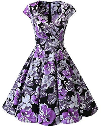 bbonlinedress bbonlinedress 1950er Vintage Retro Cocktailkleid Rockabilly V-Ausschnitt Faltenrock Black Purple Flower XS
