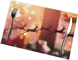 Alvahw Manteles Individuales para Mesa de Comedor Conjunto de 6, Silueta de Santa Claus y contra el árbol de Navidad y calcetín de Navidad