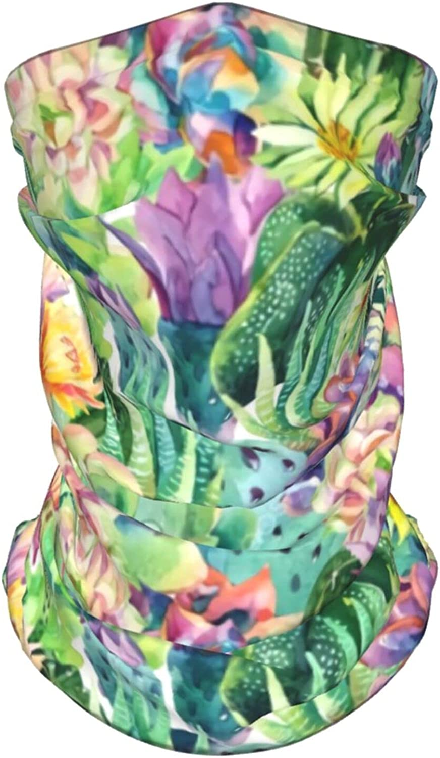Cactus Flowers Succulents Neck Gaiter Multipurpose Headwear Ice Silk Mask Scarf Summer Cool Breathable Outdoor Sport 4 Pcs