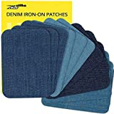 ZEFFFKA Premium Quality Denim Iron-on or Sewing Jean Patches No-Sew Shades of Blue 12 Pieces Assorted Cotton Jeans Repair Kit 3' by 4-1/4'