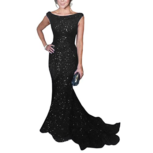 67564714d0e SOLOVEDRESS Women s Mermaid Sequined Formal Evening Dress for Wedding Prom  Gown