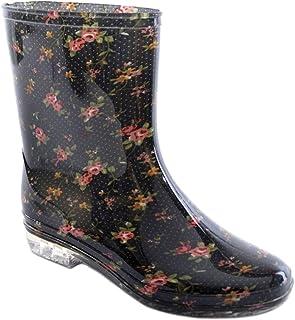 KSB Ladies Short Floral/Flower Print Wellies Wellington Boots