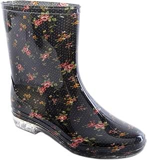 Ladies Short Floral/Flower Print Wellies Wellington Boots