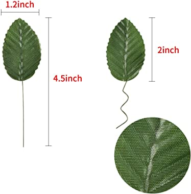 HOKPA Artificial Silk Green Leaves, Fake Faux Wired Single Leaf for Crafts Scrapbooking Floral Arrangements Home Kitchen Wedd