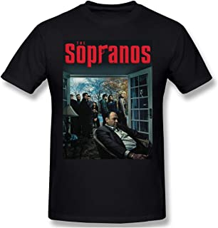 Senzioods-Fashion Men's The Sopranos Fit Shirts Black with Casual Short Sleeves