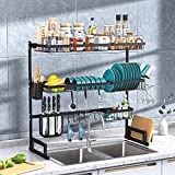 """3 Tier Over Sink Dish Drying Rack, Adjustable Length(35.5""""-42"""") Sink Drying Rack Stainless Steel, Large Dish Rack Drainer for Kitchen Organizer Storage Space Saver with 8 Utility Hooks (Black)"""
