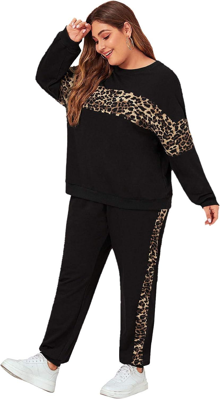 Floerns Women's 2 Piece Outfits Leopard Long Sleeve Sweatshirt and Pants Set