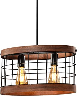 HYAS Industrial Round Wooden Farmhouse Pendant...