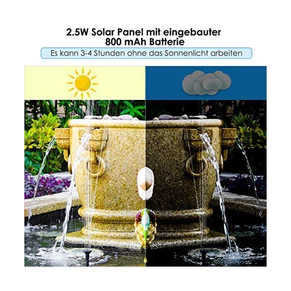 MVPower Solar Fuente Bomba, Bomba Solar de 2.5W para Estanque Bomba de Agua Solar para Decoración de Baño de Ave…
