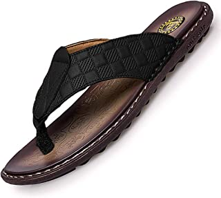 NANXIN&LOVE Men's Leather Flip-Flops Thong Sandals Summer Beach Casual Comfortable Flip-Flops Slippers Lightweight Fashion Arch Support Sandals