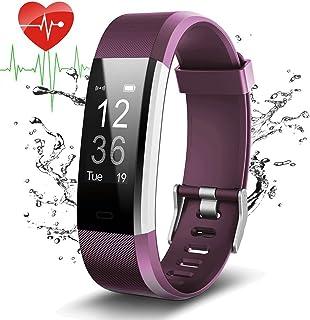 Pulsera Actividad Con GPS,ID115Plus HR Bluetooth Pulsera Intellgente con Ritmo cardiaco,Contador de pasos,Monitor de sueño,IP67 Impermeable,Podómetro para Android y iOS Telefono movil,COOLEAD(Púrpura)