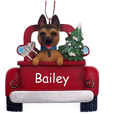 Personalized German Shepherd Puppy Dog In Pick Up Truck Holiday Christmas Ornament With Custom Name Home Kitchen