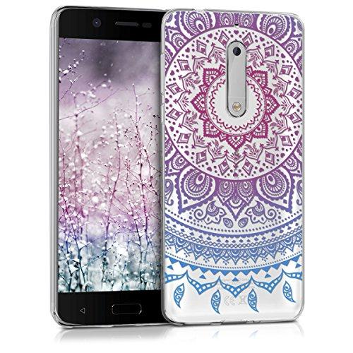 kwmobile Hülle kompatibel mit Nokia 5 - Handyhülle - Handy Hülle Indische Sonne Blau Pink Transparent