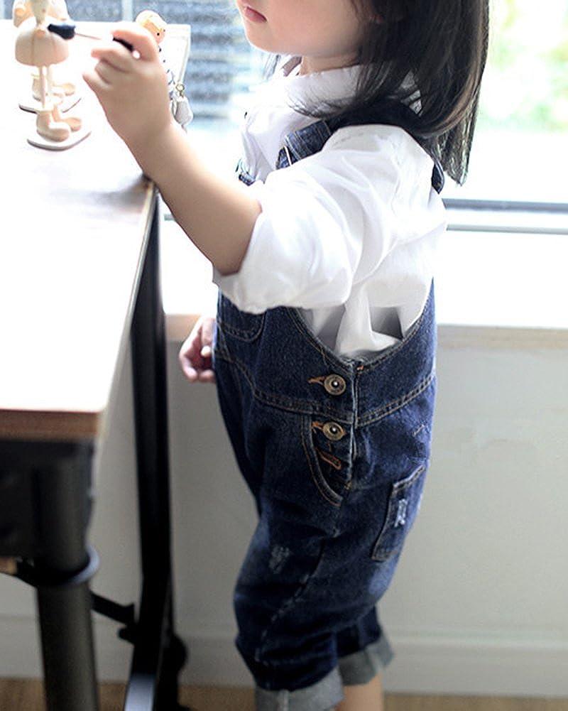 LaoZanA Combinaison Salopette Fille Gar/çon en Jean Pantalon sans Manches Jumpsuit Denim Pantalon Doux avec Bretelles