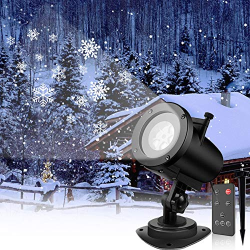Snowfall LED Light Projector, Sanwsmo Christmas LED Projector Lights, Rotating Snowfall Projection with Remote Control, Outdoor Landscape Decorative Lighting for Holiday Garden Party Decoration