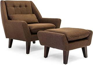 Kardiel Stuart Mid-Century Modern Lounge Chair & Ottoman, Chevron Brown Tailored Twill