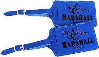 Personalized Set of 2 Leather Luggage Tags, Custom Luggage Tag, Wedding Gift, Honeymoon Traveler Gift (Blue)