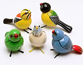 AzKrafts Lot 5 Pcs Handmade Painted Wooden Birds Vintage Indian Craft Toys Gift