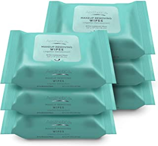 Aesthetica Makeup Removing Wipes - Facial & Eye Makeup Remover Wipes - 6 Pack Bulk (180 Wipes Total) Hypoallergenic & Derm...