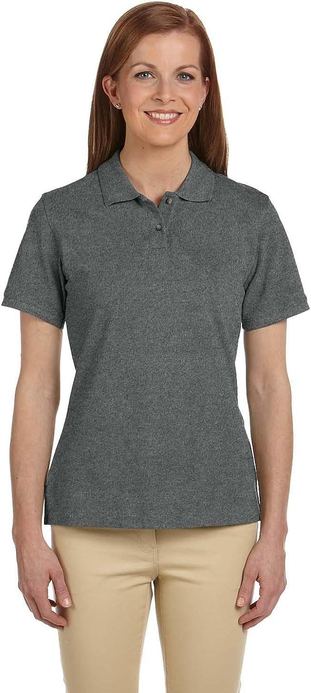 Harriton Ladies' 6 oz. Cotton Pique Short-Sleeve Polo>M CHARCOAL M200W