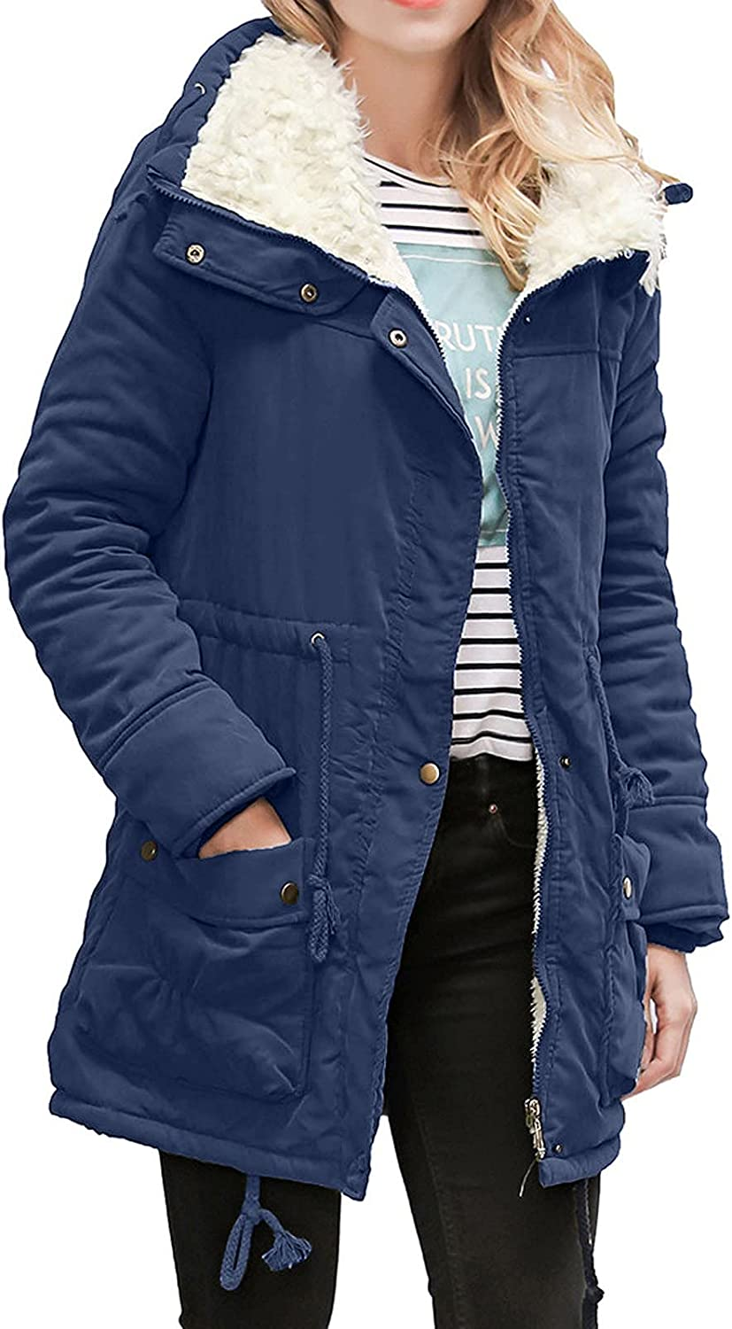 Womens Winter Fleece Coats Warm Faux Fur Parka Long Jackets Thick Plush Lined Trench Coat Solid Color Hooded Overcoat