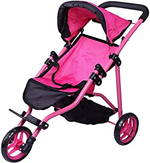 Precious Toys Jogger Hot Pink Doll Stroller, Black Foam Handles and Hot Pink Frame – 0129A