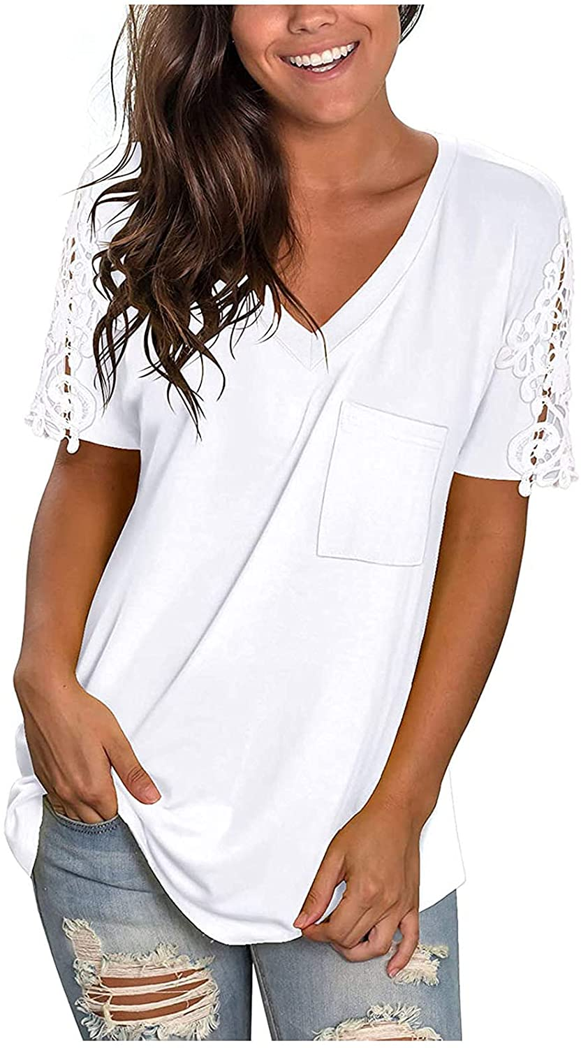 FABIURT Womens Summer Tops, Women Casual V Neck Floral Printed T-Shirt Lace Trim Top Shirts Short Sleeve Blouse Tee Tops