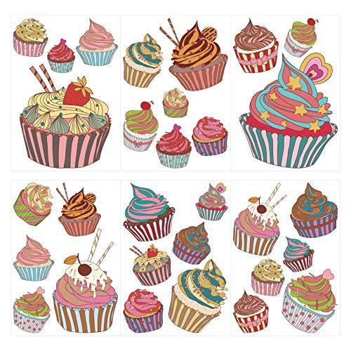 dekodino® Wandtattoo Cupcakes in bunten Farben 30 Stück Set Wandsticker