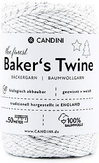 Candini Bäckergarn Silber Weiß | 50m | weiches Bastelgarn aus Baumwolle - Premium Qualität aus England, zweifarbig - Bakers Twine, Bastelschnur, Baumwollschnur, Geschenkband