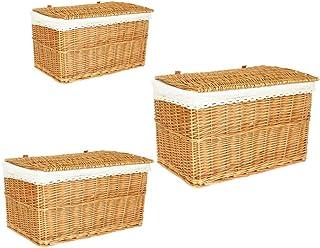 CHUN LING Panier de Rangement Boîte de Rangement en Bambou tressé avec Couvercle, Panier de Rangement en rotin, boîte de R...
