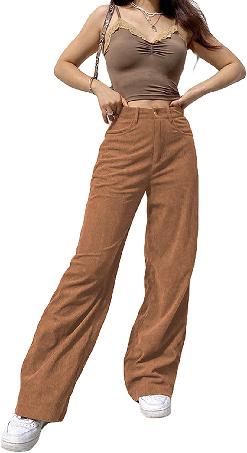 LOPJGH Women's Casual Wide-Leg Pants Corduroy Solid Color High-Waist Loose Casual Trousers