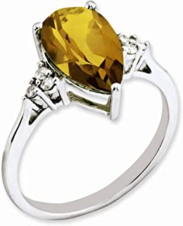 925 Sterling Silver Diamond Whiskey Quartz Band Ring Size 7.00 Gemstone Fine Jewelry Gifts For Women For Her