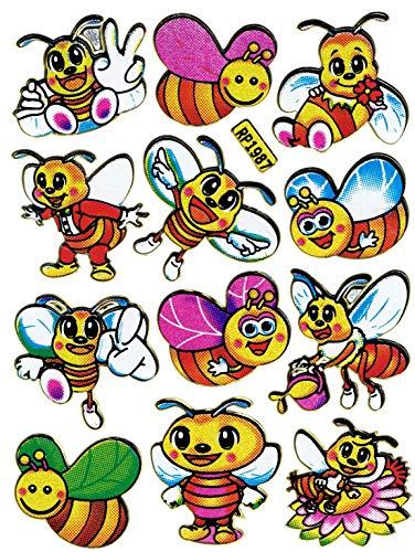 Biene Wespe Hummel Honig Insekten bunt Aufkleber 12-teilig 1 Blatt 135 mm x 100 mm Sticker Basteln Kinder Party Metallic-Look