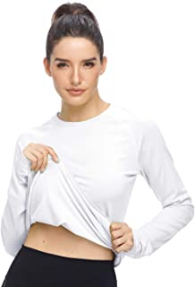 HISKYWIN Women's Lightweight Thermal Underwear Top Fleece Lined Base Layer Long Sleeve Shirt with Thumbhole